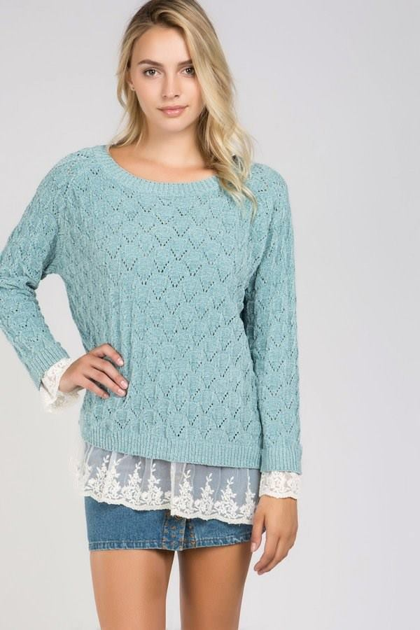 NECK SOFT KNIT SWEATER