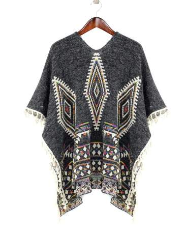 AZTEC GEOMETRIC PONCHO PULL OVER