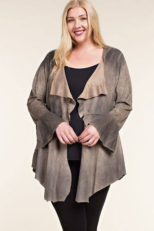BLUSHED SUEDE CARDIGAN