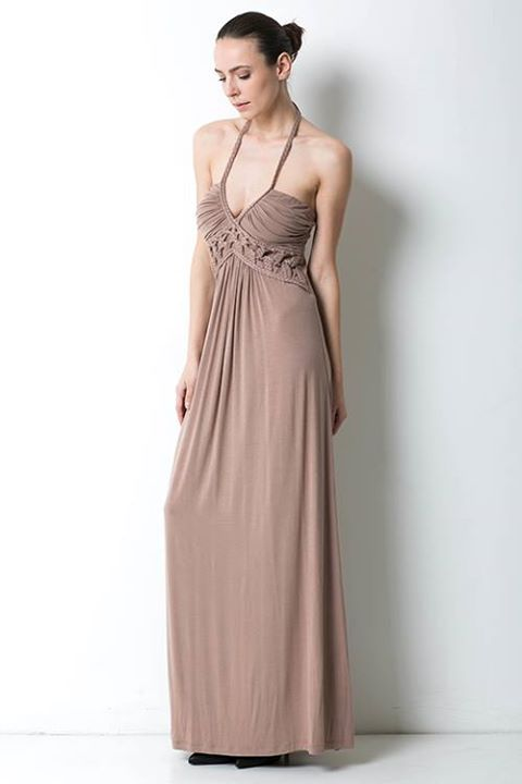 HALTER MAXI DRESS WITH RUCHED BUST